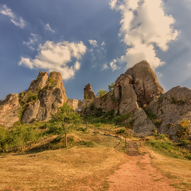 """""""The Belogradchik Rocks are a group of strange shaped sandstone and conglomerate rock formations located in Belogradchik, Bulgaria"""" stock image"""