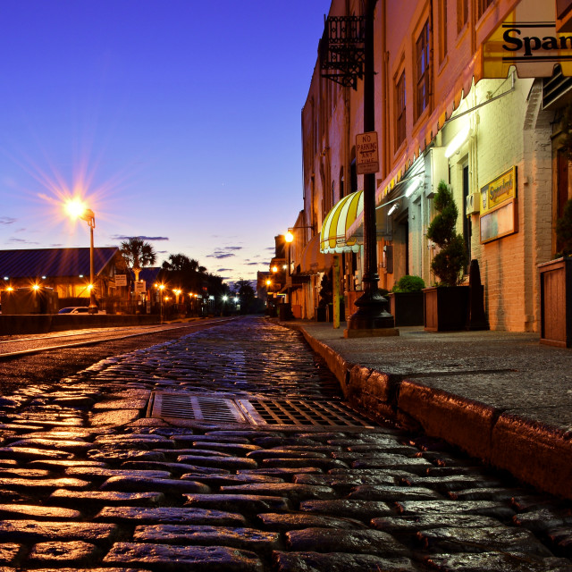 """River Street at Dusk"" stock image"