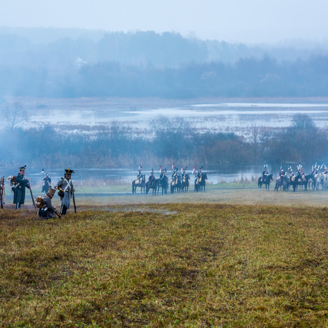 """""""Re-enactment of the 1812 battle of the Berezina River in Belarus, 26-11-2017"""" stock image"""