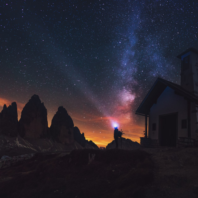 """Tre Cime di Lavaredo at night in the Dolomites in Italy, Europe"" stock image"