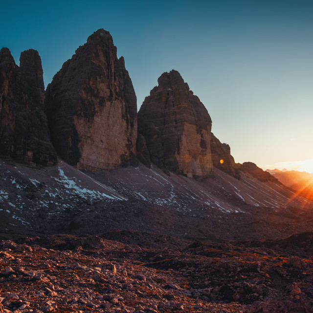 """Tre Cime di Lavaredo at sunset in the Dolomites in Italy, Europe"" stock image"