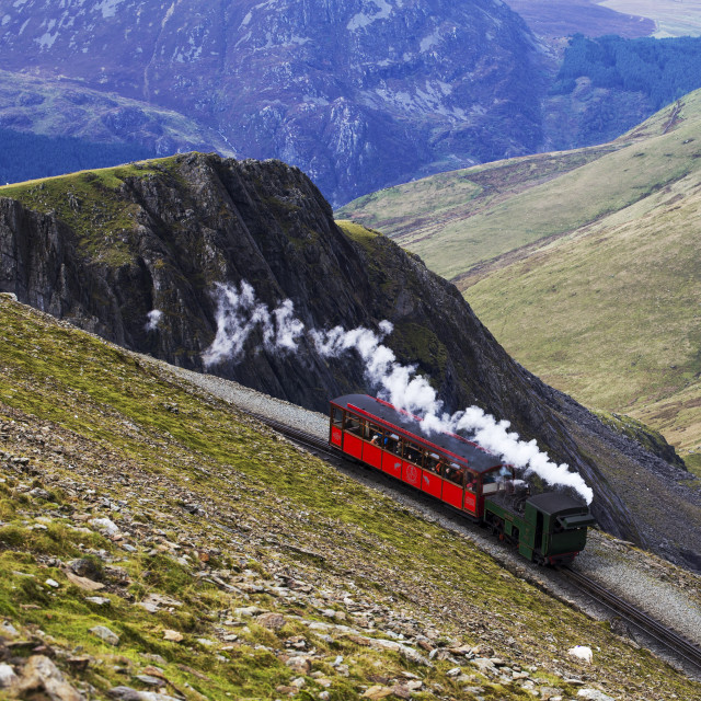 """Steam train on a mountain!"" stock image"