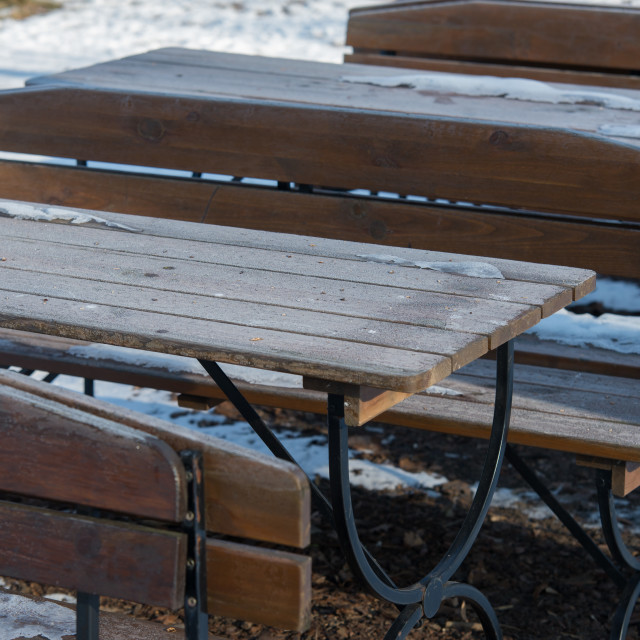 """""""snow on the restaurant's table. Winter concept"""" stock image"""