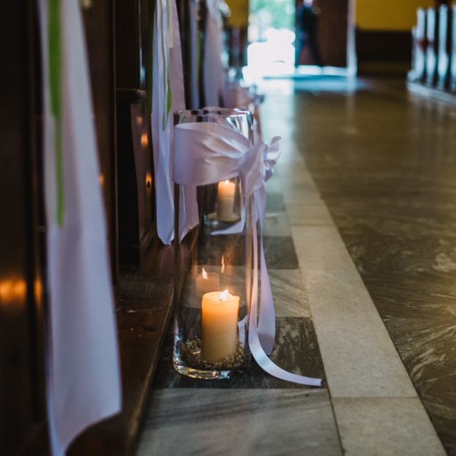 """""""candle on the floor in the church"""" stock image"""