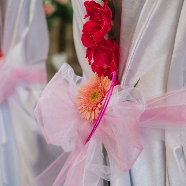 """""""close up on chair wedding decoration - flower"""" stock image"""
