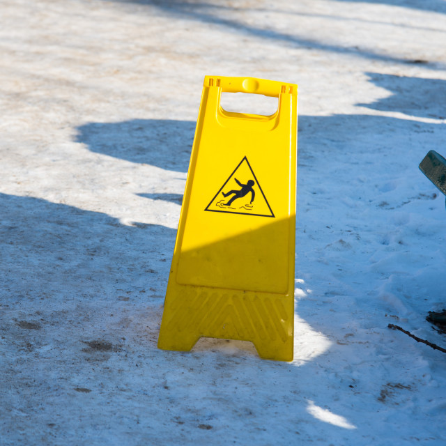 """""""safety sing, ice and snow on the floor"""" stock image"""