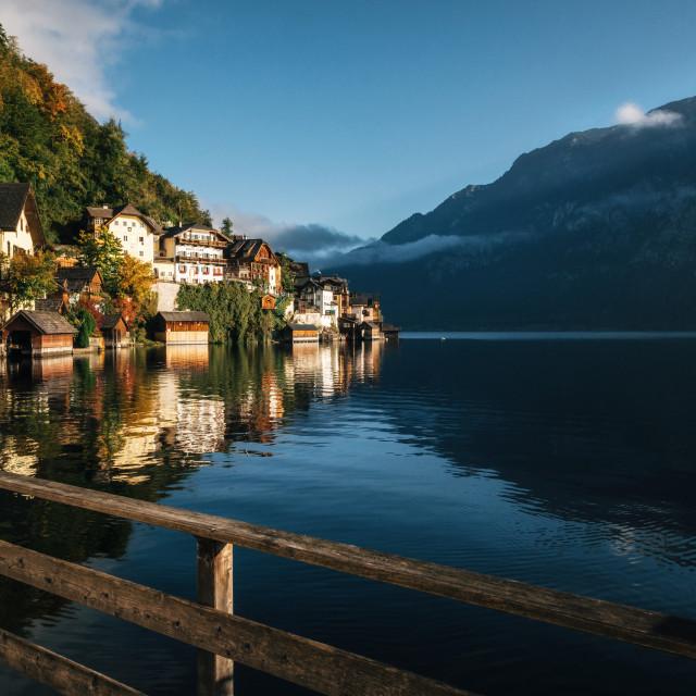 """""""Scenic Hallstatt town in autumn, Austria"""" stock image"""