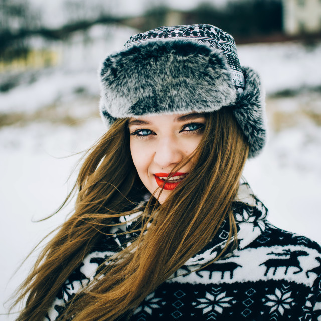 """""""Young woman in warm hat"""" stock image"""
