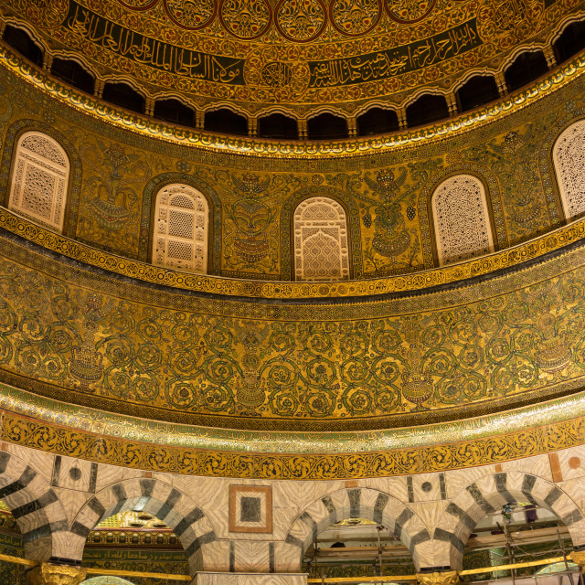 """Internal view of Dome of the Rock Islamic Mosque"" stock image"