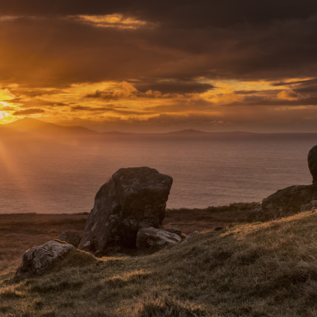 """Sunset over the Isle of Lewis"" stock image"