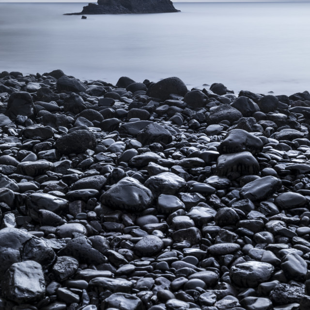 """Grey day at Talisker bay"" stock image"