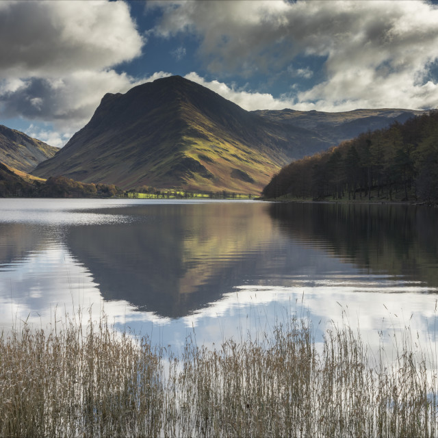 """Buttermere on a still Autumnal day"" stock image"