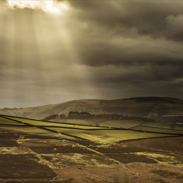 """Crepuscular rays over the Yorkshire Dales"" stock image"