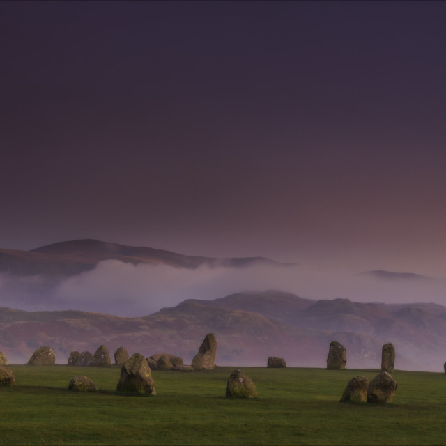"""Evening falls on Castlerigg stone circle"" stock image"
