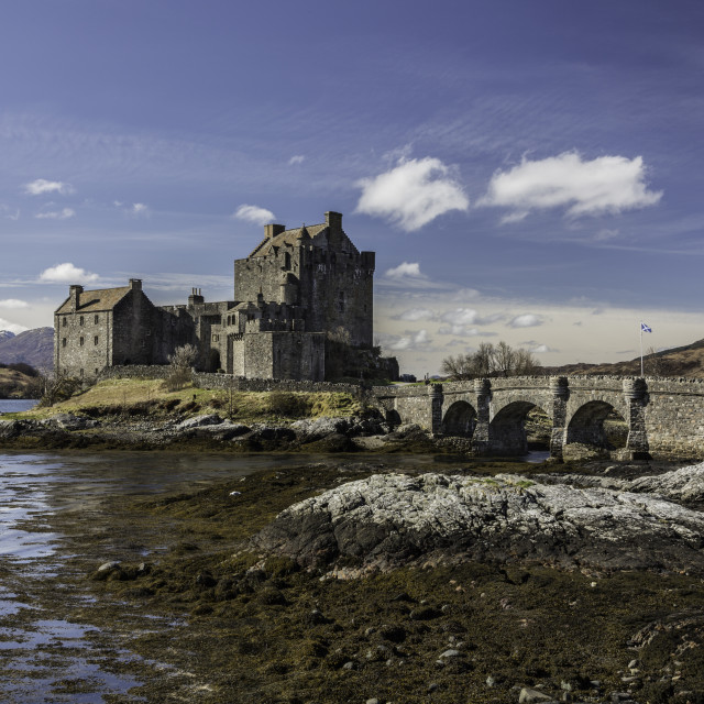 """""""Eilean Donan Castle on a sunny day"""" stock image"""