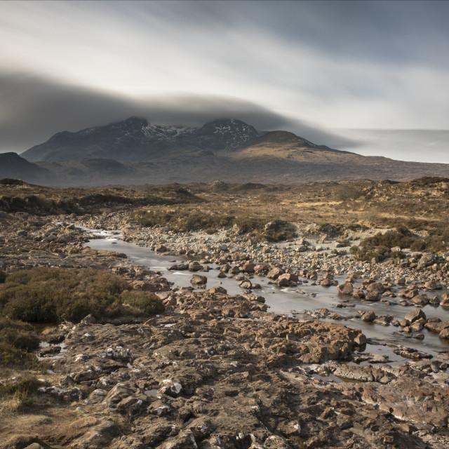 """Streaking clouds over Sgurr nan Gillean"" stock image"