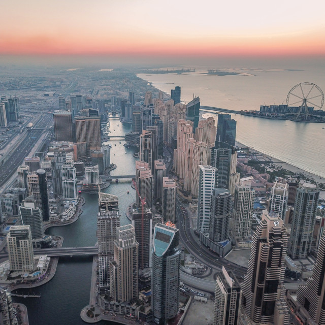 """""""DUBAI MARINA BY DRONE"""" stock image"""