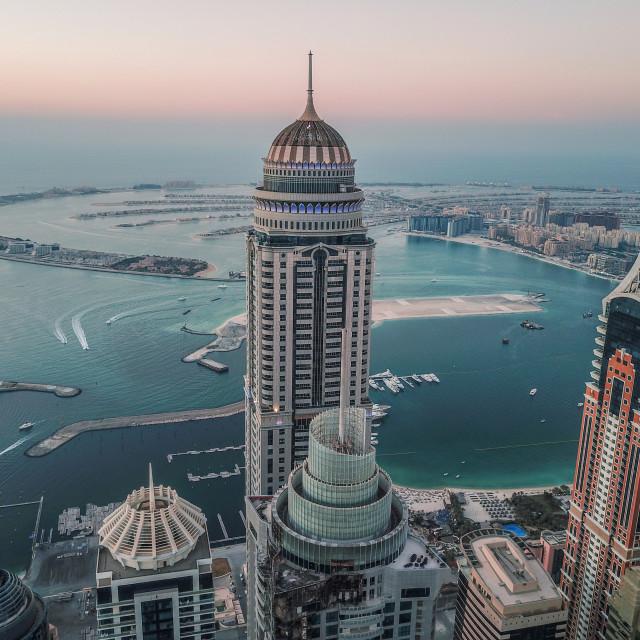 """DUBAI MARINA & THE PALM BY DRONE"" stock image"
