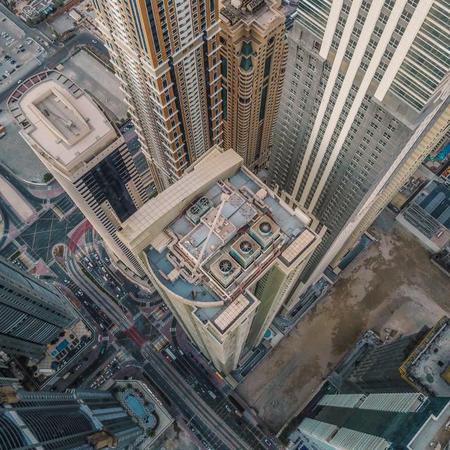 """""""DUBAI CITYSCAPE BY DRONE"""" stock image"""