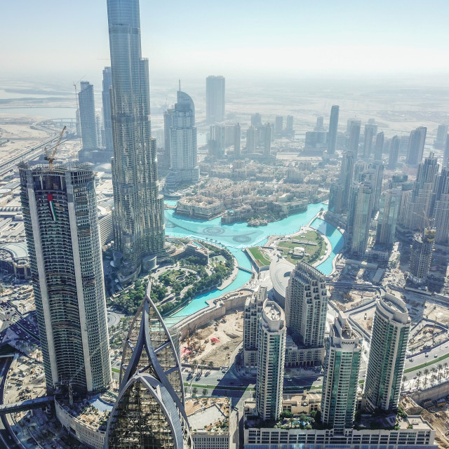 """DUBAI BURJ KHALIFA & CITYSCAPE BY DRONE"" stock image"