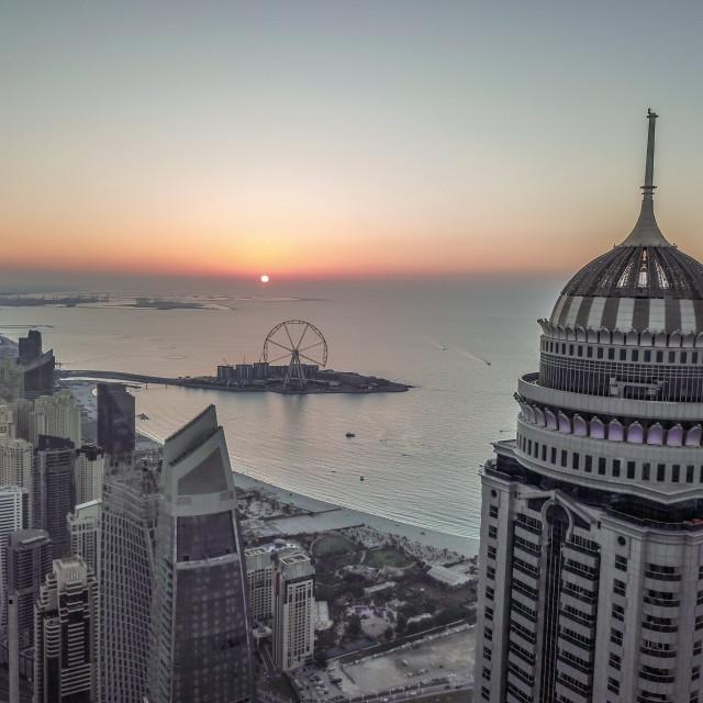 """""""DUBAI MARINA & CITYSCAPE BY DRONE"""" stock image"""