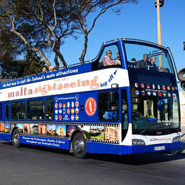 """Tour Bus in Floriana, Malta"" stock image"