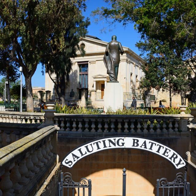 """""""View of the Stock Exchange in Upper Barrakka gardens in Valletta, Malta"""" stock image"""