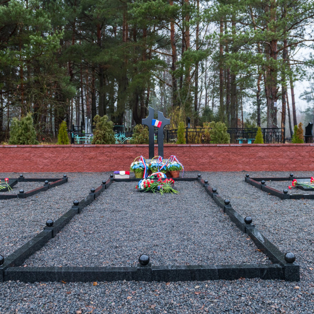 """The cemetery at Studianka in Belarus ...Soldiers of Napoleon's army"" stock image"