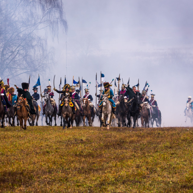 """re-enactment of the 1812 battle of the Berezina River in belarus, 26-11-2017"" stock image"
