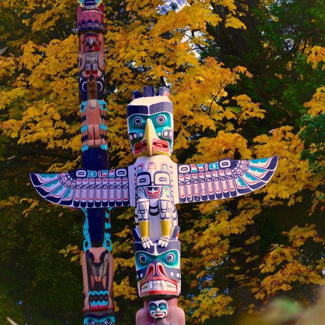 """Indian Totem Poles"" stock image"