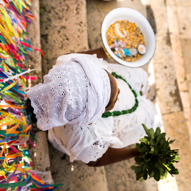 """""""Candomble priestess wearing traditional clothes at Bonfim Church in Salvador, Bahia, Brazil"""" stock image"""