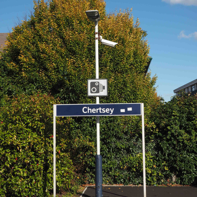 """Chertsey Station name board"" stock image"