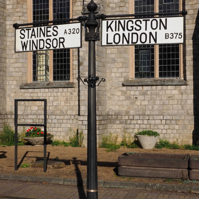 """Staines and Kingston Finger Post"" stock image"