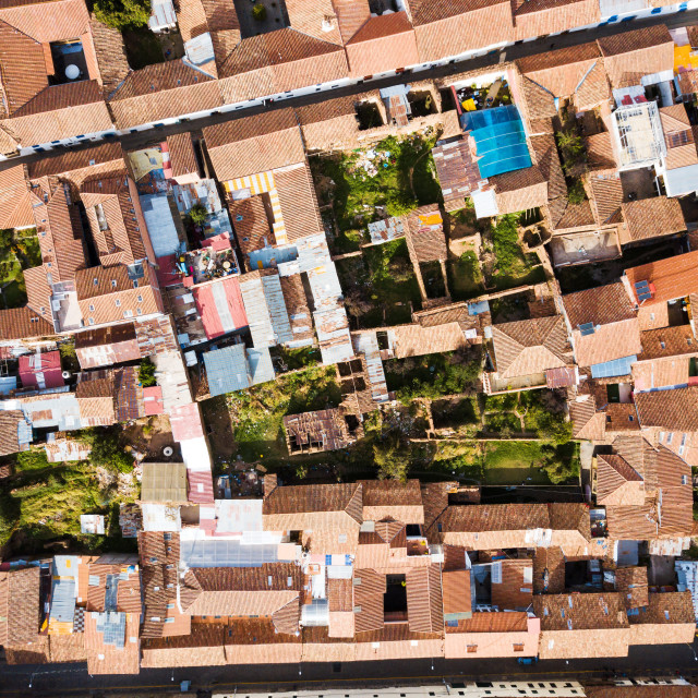 """""""Rooftops of Cusco city in Peru"""" stock image"""
