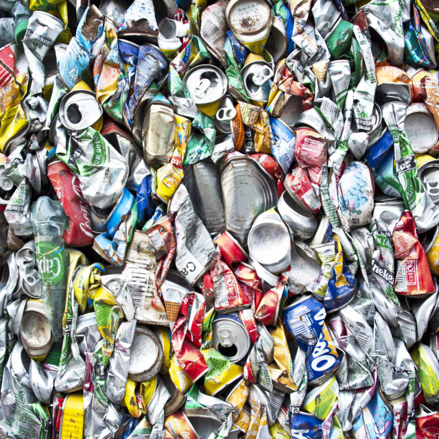 """Tin cans being recycled on Les Saintes, Guadeloupe"" stock image"