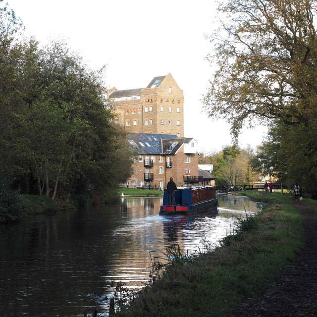 """Narrowboat approaching Coxes Mill"" stock image"