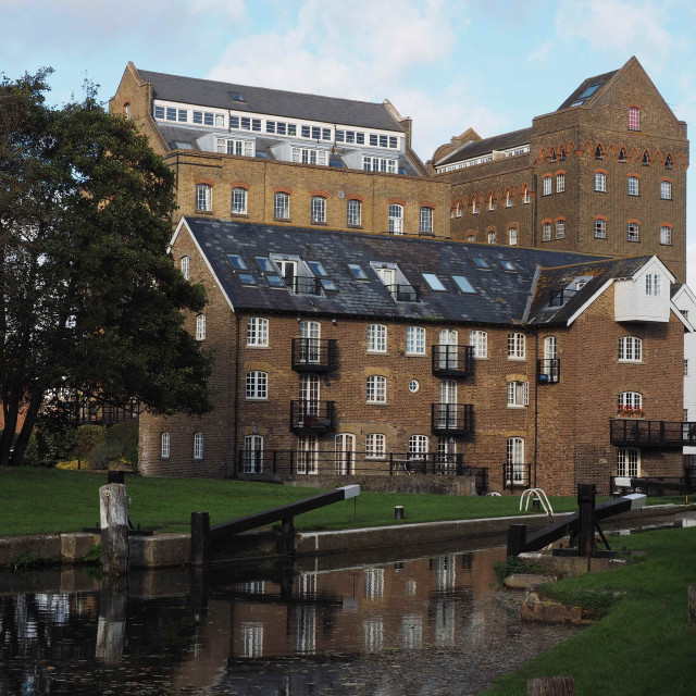 """Coxes Mill and Lock, River Wey Navigation"" stock image"