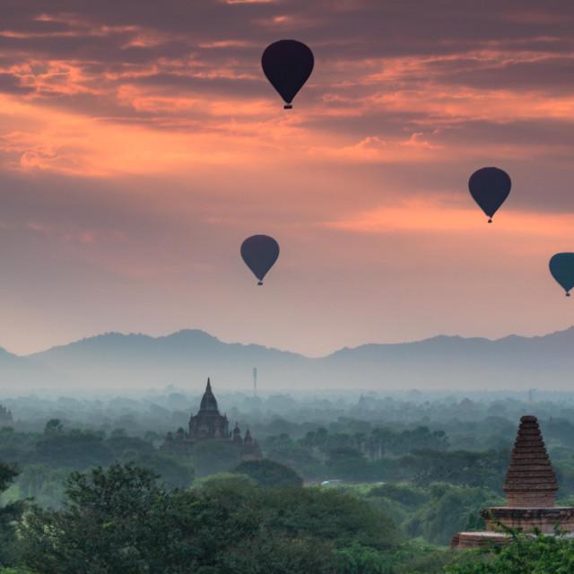 """""""Balloons in Bagan"""" stock image"""