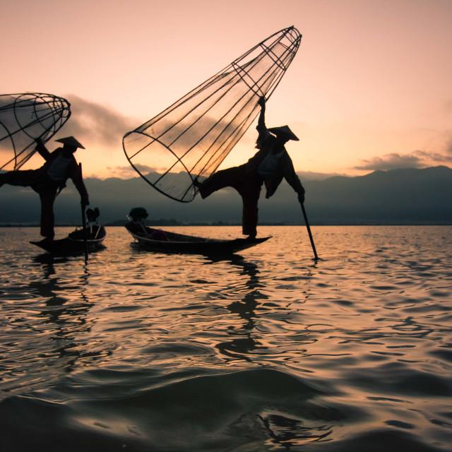 """""""fishermen in Myanmar"""" stock image"""