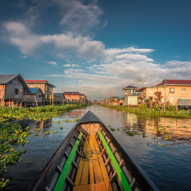 """""""Travel through the floating village"""" stock image"""