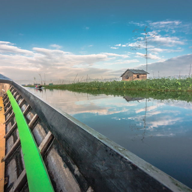 """Reflections of Inle Lake"" stock image"