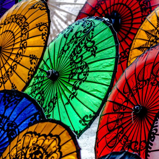 """umbrellas of Myanmar"" stock image"