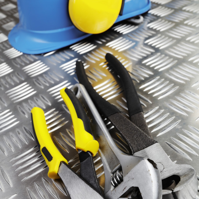 """Hardhat and tools"" stock image"