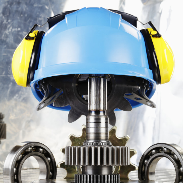 """Hardhat with industrial gears"" stock image"
