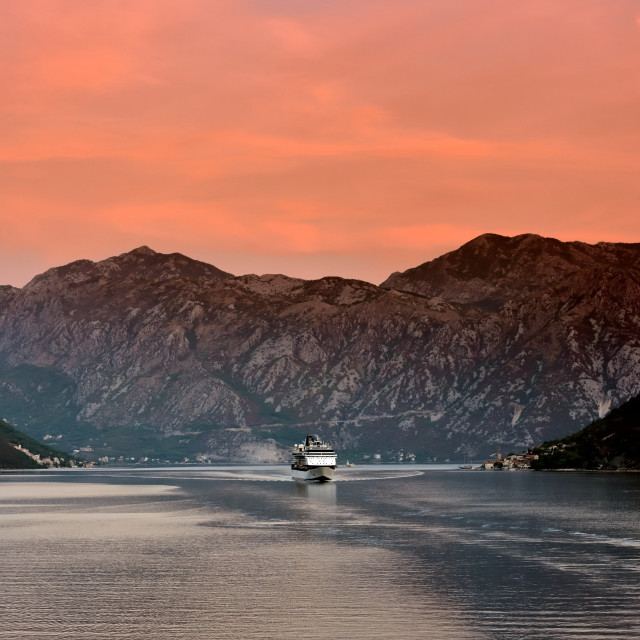 """Celebrity Constellation at sunrise in Kotor"" stock image"