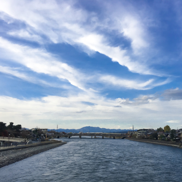 """River and sky background in Japan"" stock image"