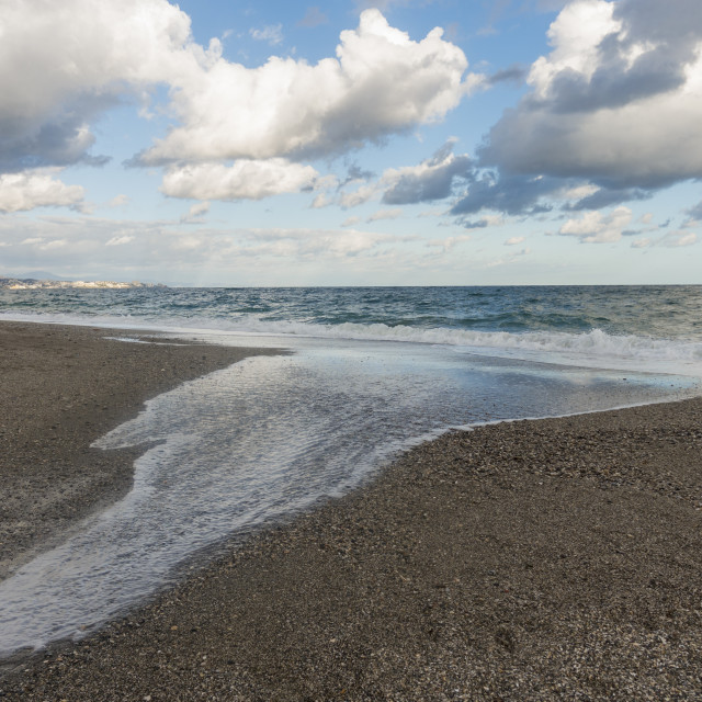 """River mouth of Fuengirola river, and mediterranean sea, seascape"" stock image"