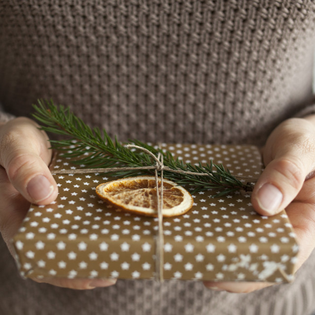 """Woman holding a Christmas gift"" stock image"