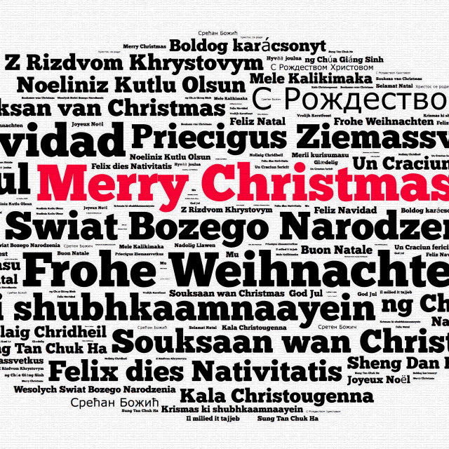"""Merry Christmas in different languages"" stock image"