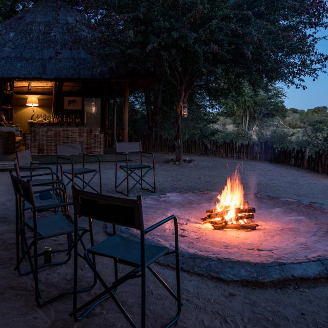 """Camp fire in safari lodge"" stock image"